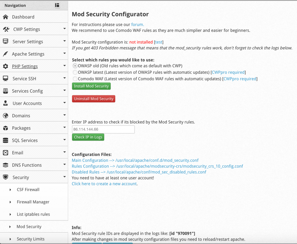 Centos Webpanel ModSecurity install