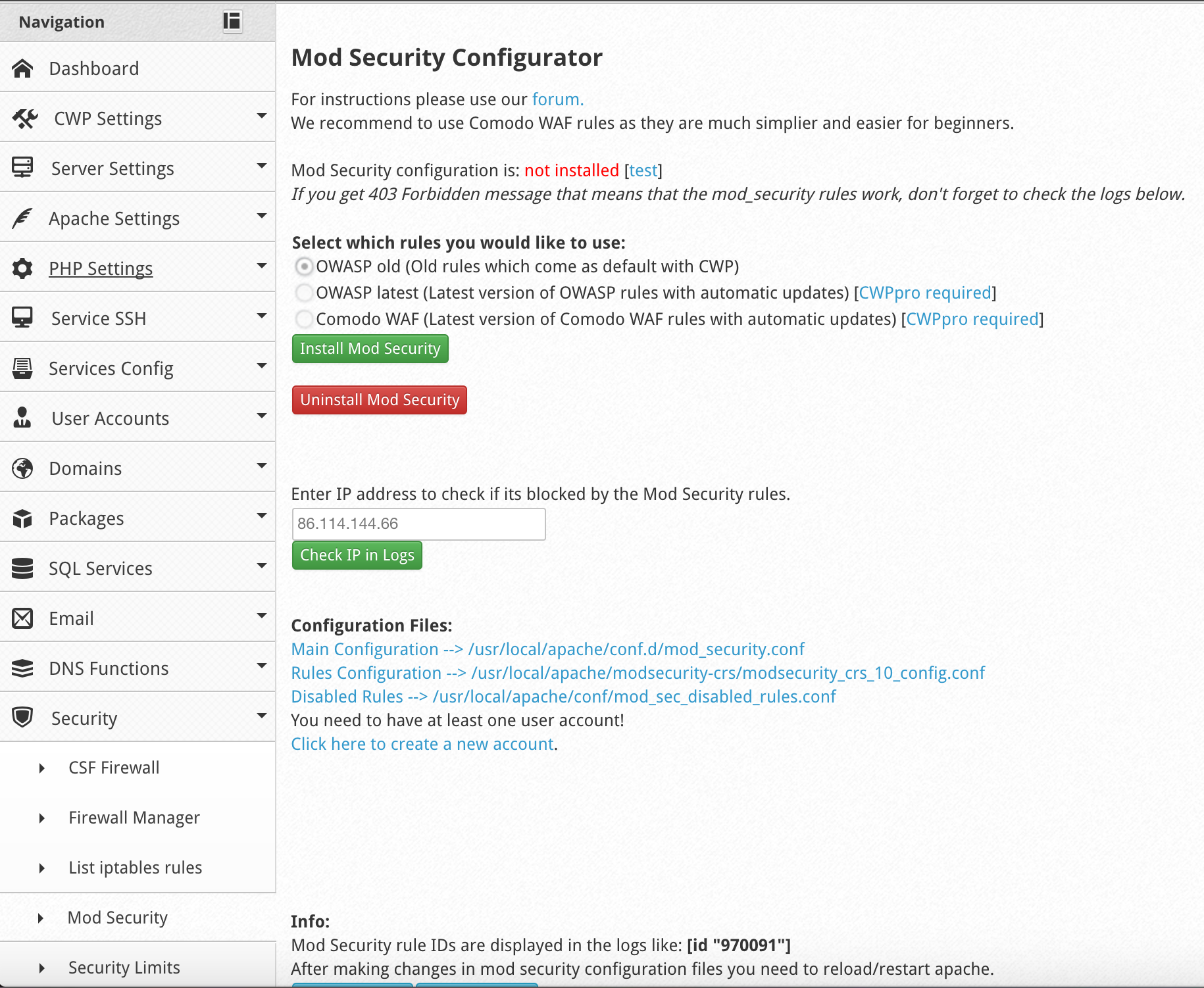 Install ModSecurity Rules to CENTOS WEB PANEL - Malware Expert