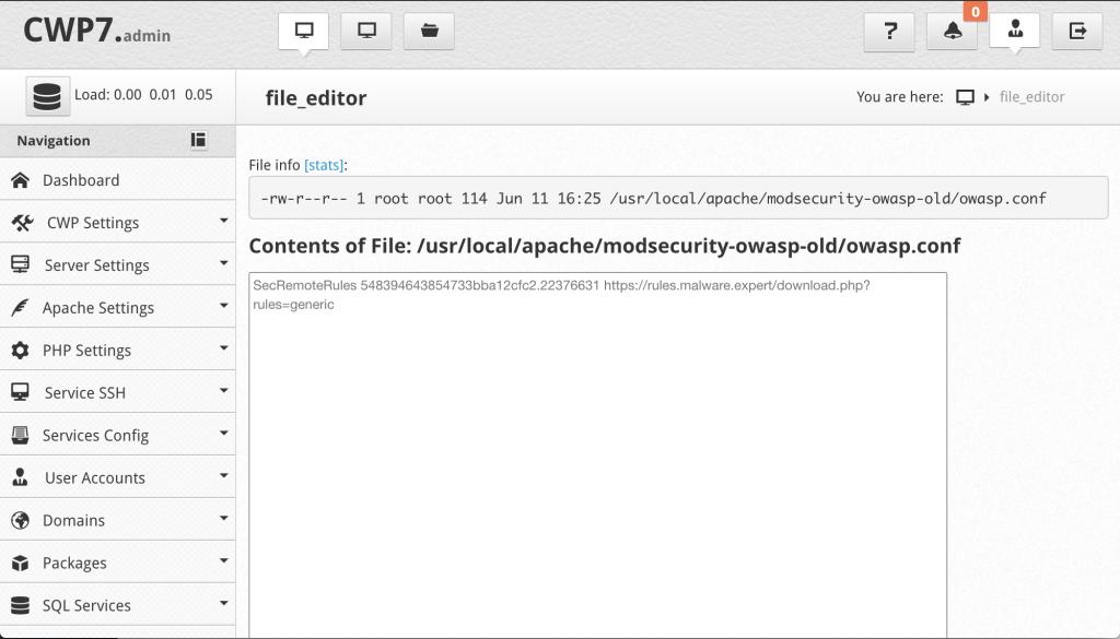 Centos Webpanel ModSecurity Owasp Configuration
