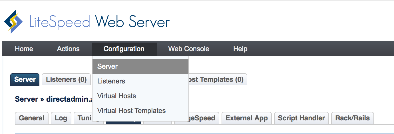 litespeed web server configuration server