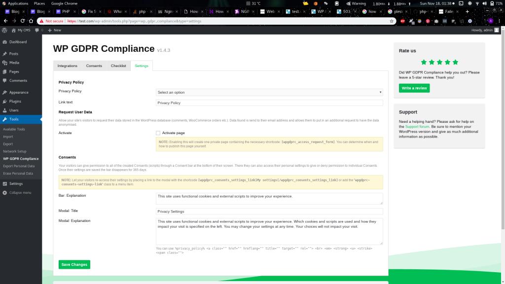 WP GDPR Compliance plugin