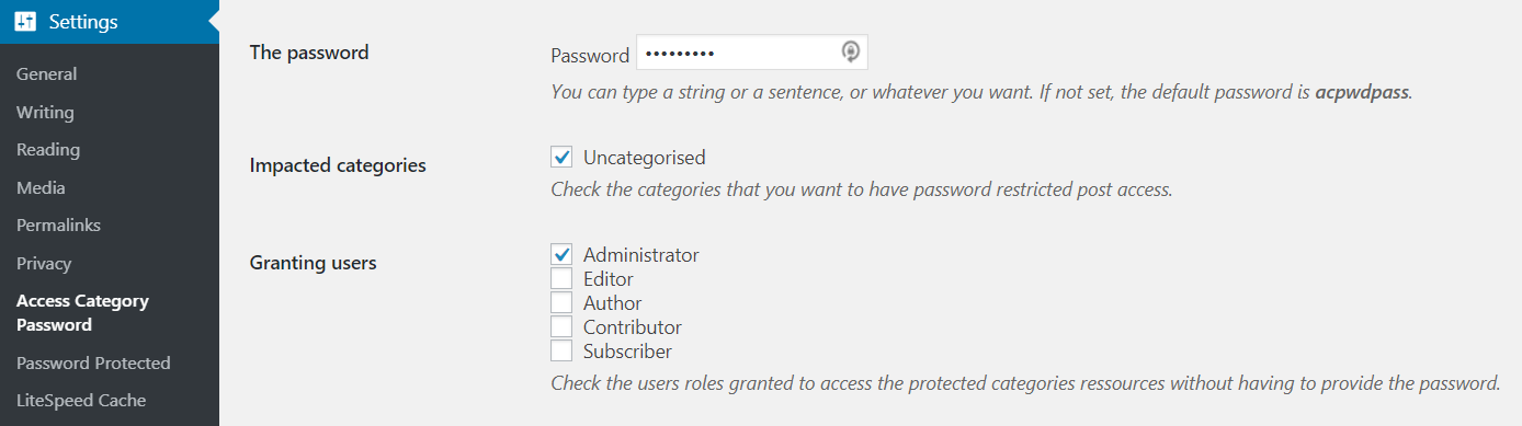 Wordpress Access category password
