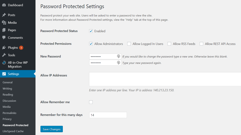 Wordpress Password Protect Setting