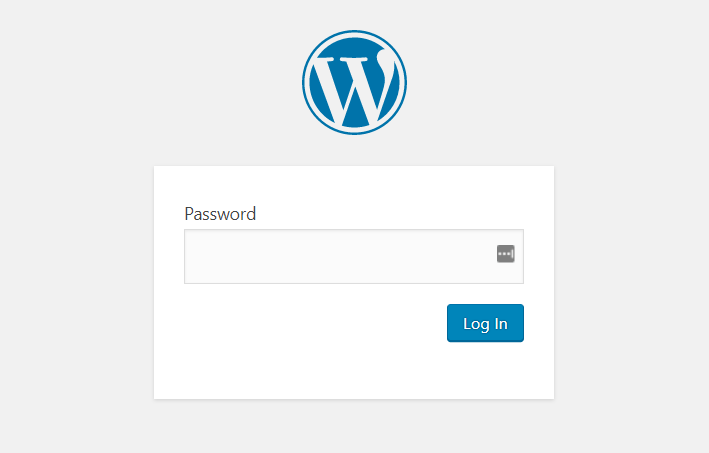 Wordpress Password Screen