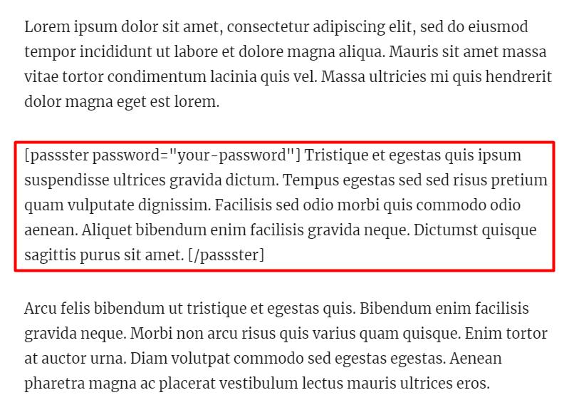Wordpress Password Shortcode Place