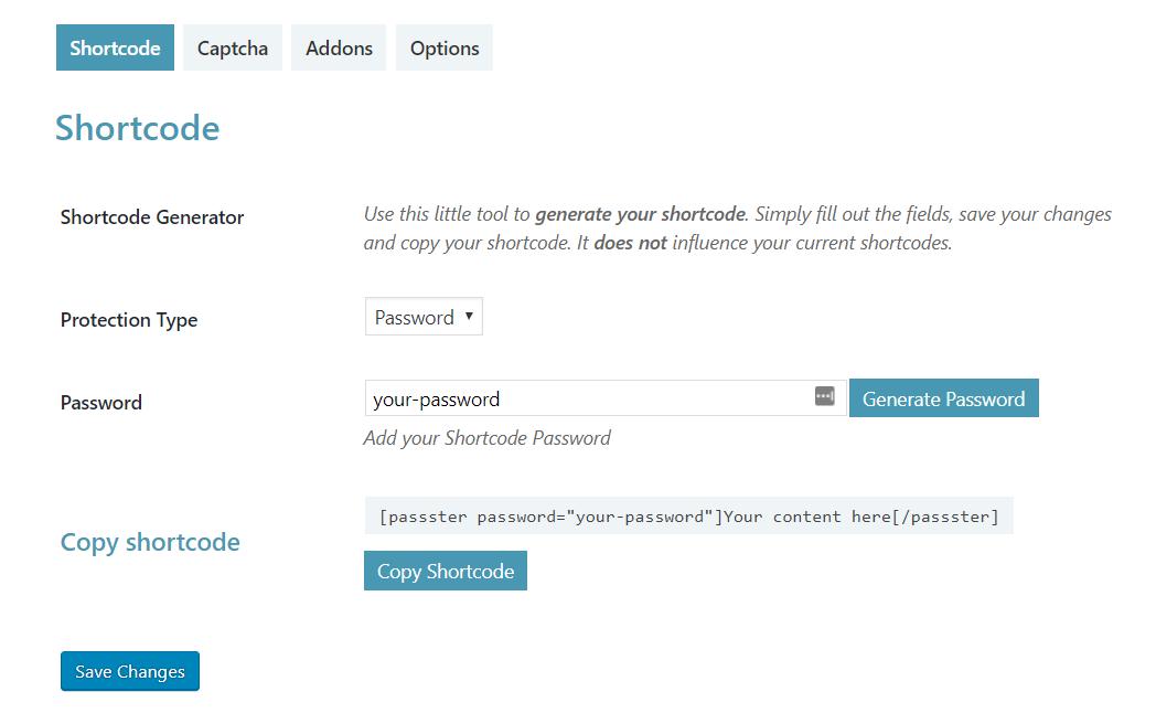 Wordpress Password Shortcode