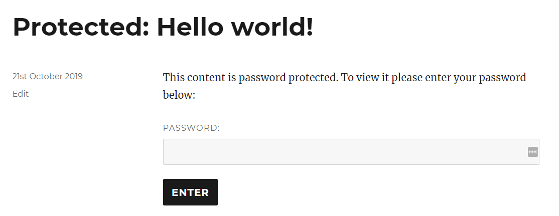 Wordpress content is protected