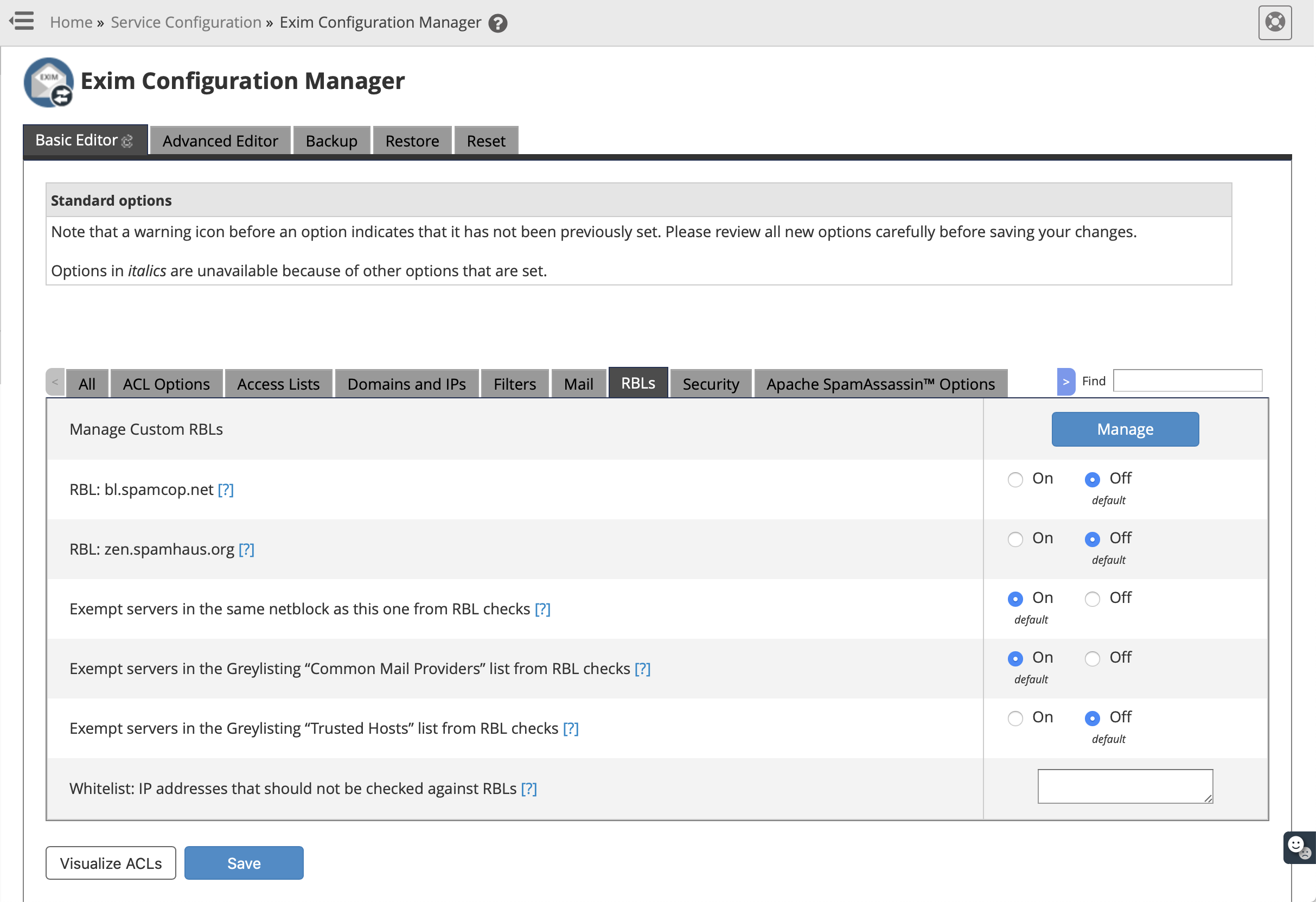 Exim Configuration Manager - Save