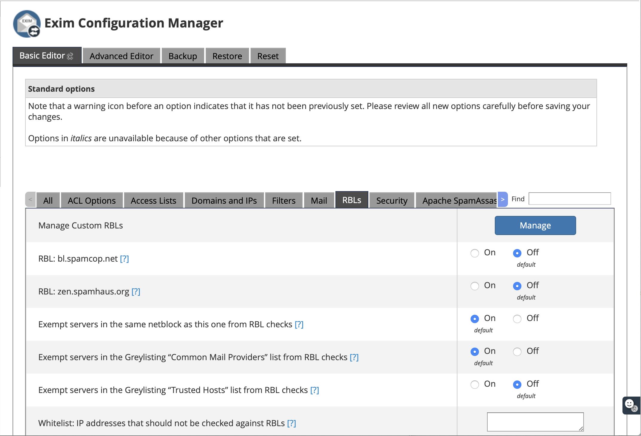 Exim Configuration Manager
