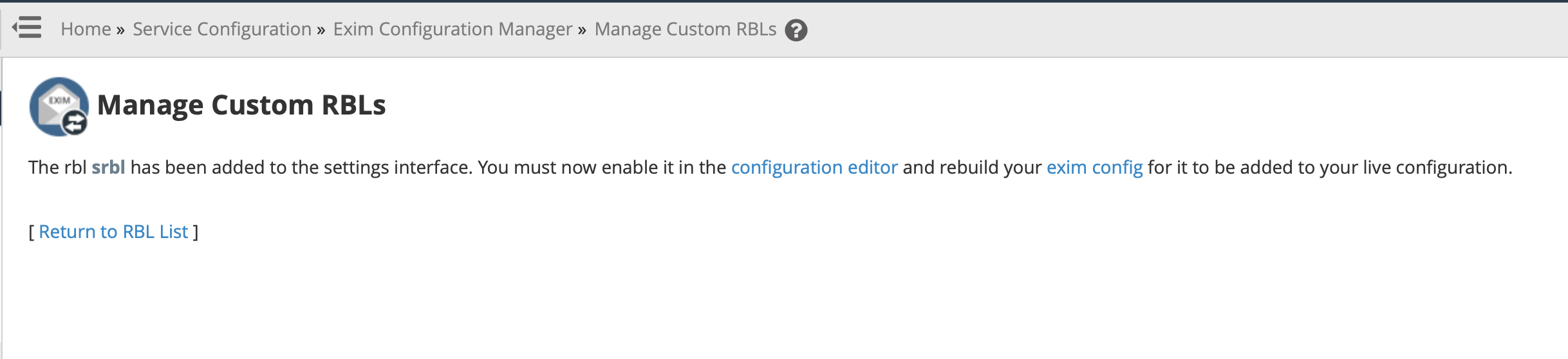 Manage Custom RBLs - Add
