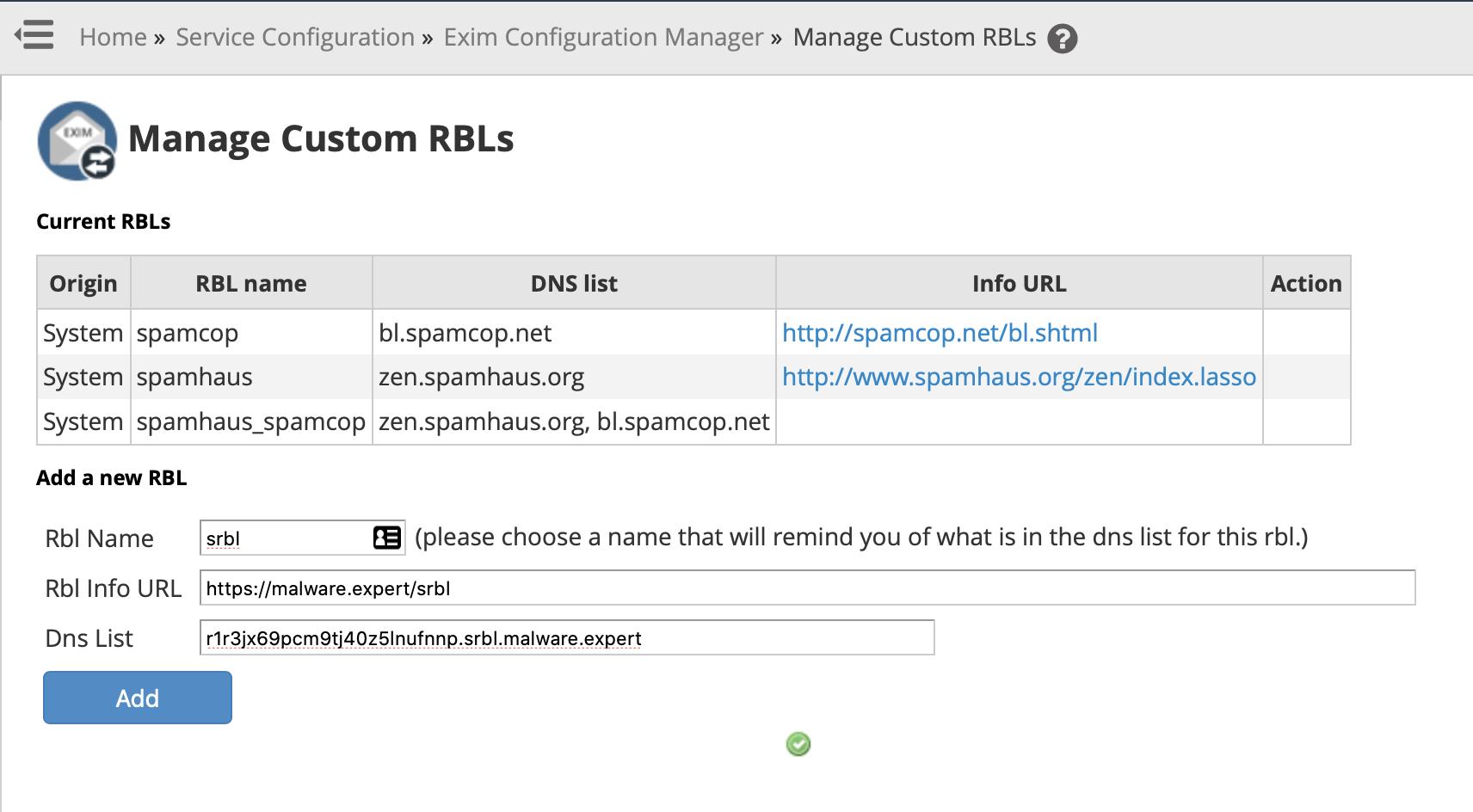 Manage Custom RBLs